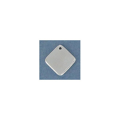 Sterling silver .925 pendant, 11.5mm, diamond shape blank pendant, for engraving, hole size 0.90mm