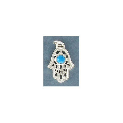 Sterling silver .925 pendant, 15.5x11.5mm, hamsa hand charm with turquoise