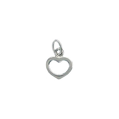 Hollow heart charm sterling silver
