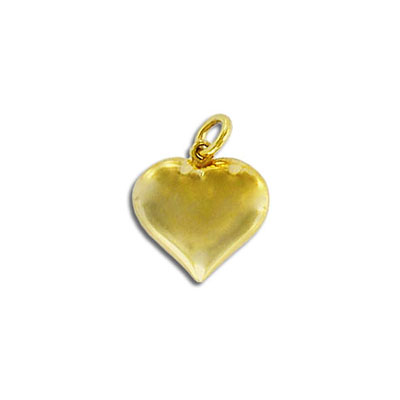 Sterling silver .925 pendant, 15mm, heart charm, gold plate