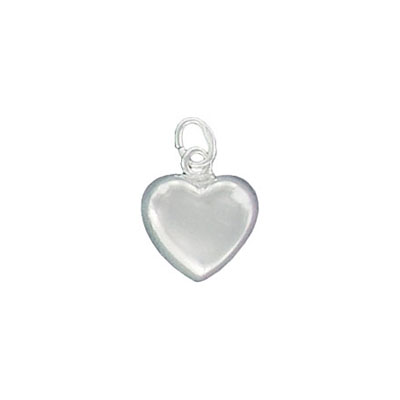Sterling silver pendant, charm, heart, 12.5x11mm.