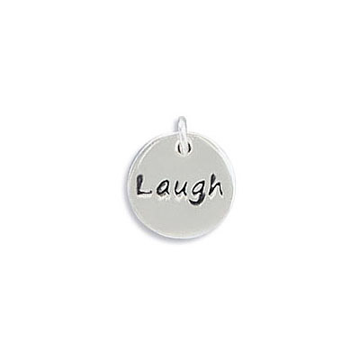 Sterling silver .925 pendant, 10mm, Laugh charm, with 4mm jump ring