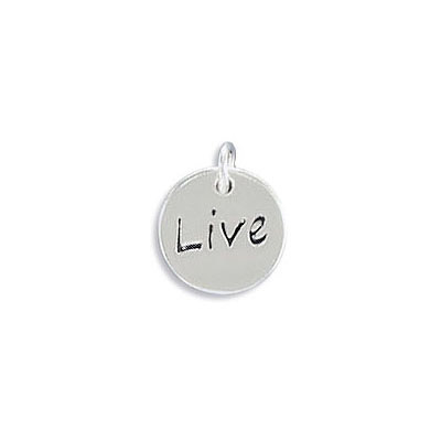 Sterling silver .925 pendant, 10mm, Live charm, with 4mm jump ring
