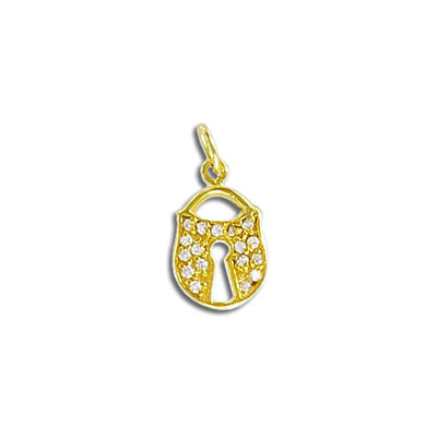Sterling silver .925 pendant, 14mm, lock charm with crystals
