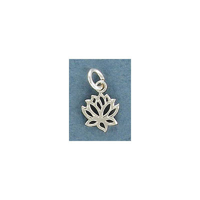Sterling silver .925, 9mm, lotus pendant charm