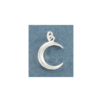 Sterling silver .925, 13mm, crescent moon pendant charm