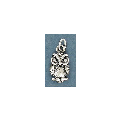 Sterling silver .925 pendant, 15x8mm, owl charm