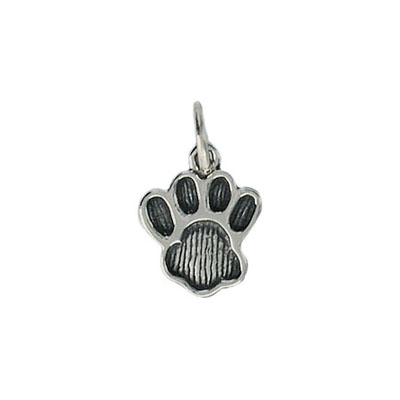 Dog paw sterling silver charm