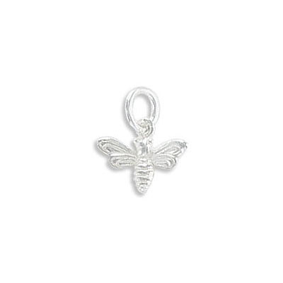 Sterling silver .925 pendant, 11x8mm, small honey bee charm
