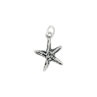 Sterling silver pendant, charm, starfish, 16x13mm, .925