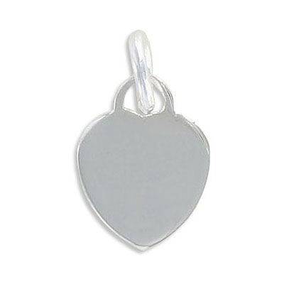 Sterling silver pendant, charm, flat tiffany heart, 19x14.5mm, .925