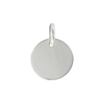 Sterling silver pendant, charm, flat tiffany circle, 16mm, .925