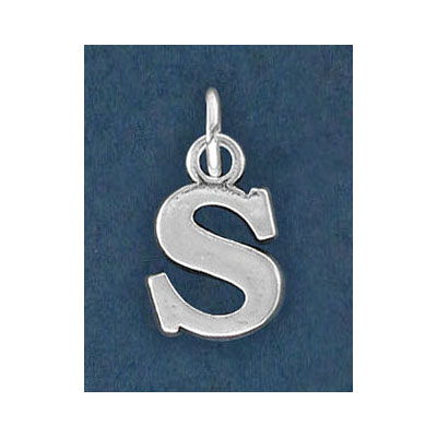 Sterling silver .925 pendant, letter charm (S), 12mm
