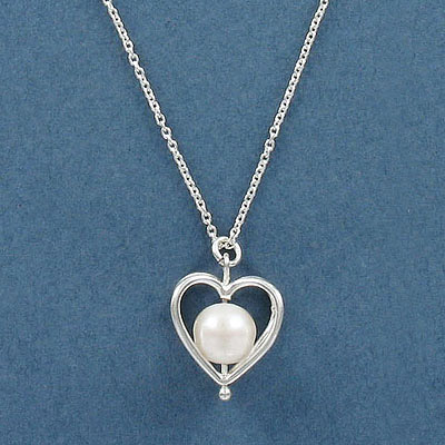 Sterling silver necklace, 13mm heart with fresh water pearl pendant, 18 inch