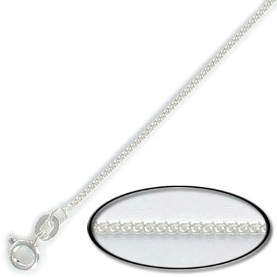 Sterling silver necklace, curb link with spring-ring, 20 inch, width 1.2mm, .925
