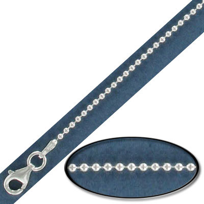 Sterling silver ball neck chain, 1.5mm, 18 inch