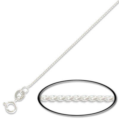 Sterling silver neckchain  0.70mm with spring ring, .925, 18 inch