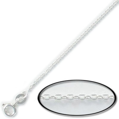 Sterling silver necklace cable flat link 40cm 16 inch with spring-ring (width 1.5mm) .925