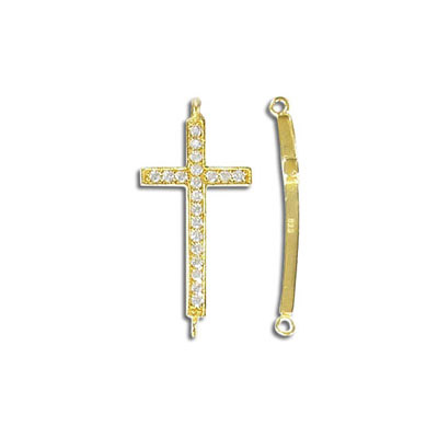 Sterling silver connector, 26mm, cross with stones, gold plate