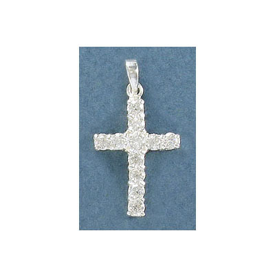 Sterling silver .925 pendant, 22x16mm cross with stones