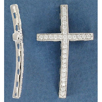 Sterling silver .925 pendant, curved cross bead, 42mm, with stones