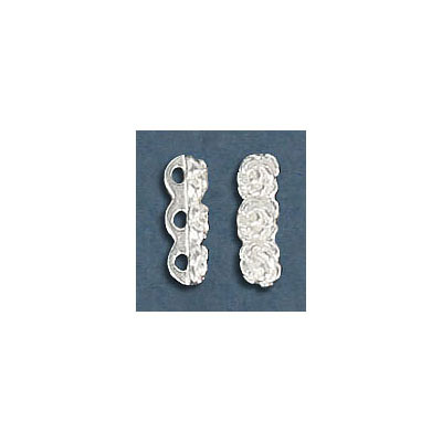 Sterling silver bead spacer bar, 3-row, roses