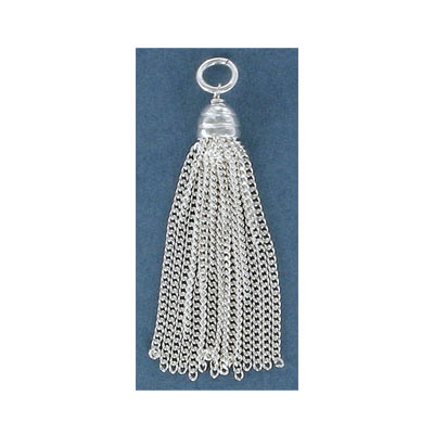 Sterling silver .925 tassel, 40mm, 15 strands, with 5mm jumpring
