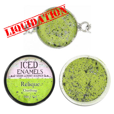 Iced enamel relique powder, 15ml, chartreuse
