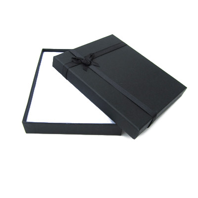 Jewelry gift box with bow and ribbon, 12x16mm, black