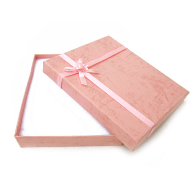 Jewelry gift box with bow and ribbon, 12x16mm, pink
