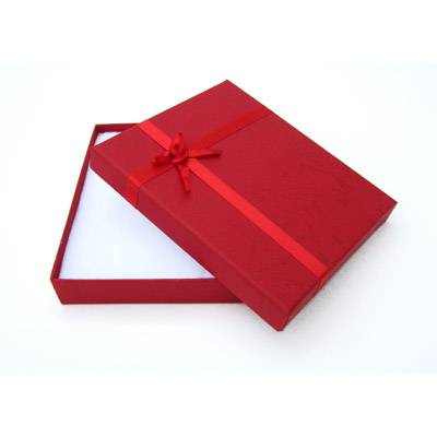 Jewelry gift box with bow and ribbon, 12x16mm, red