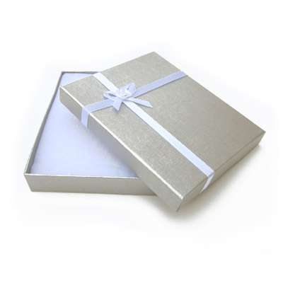Jewelry gift box with bow and ribbon, 12x16mm, silver