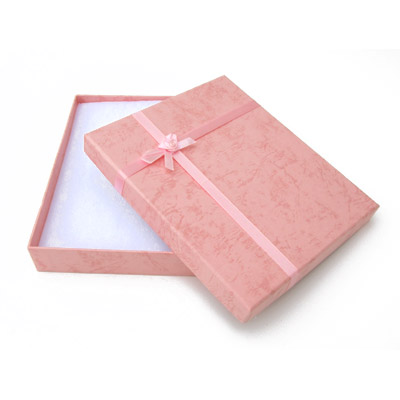 Jewelry gift box with bow and ribbon, 16x19mm, pink