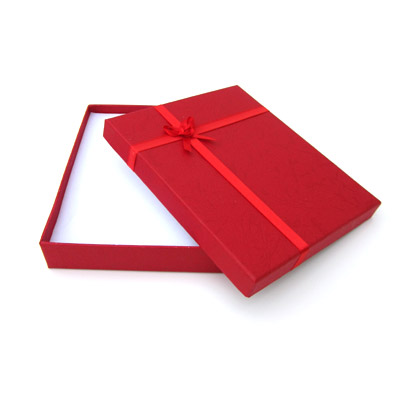 Jewelry gift box with bow and ribbon, 16x19mm, red