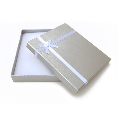 Jewelry gift box with bow and ribbon, 16x19mm, silver