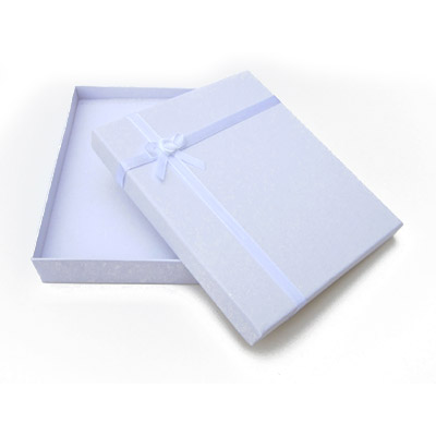 Jewelry gift box with bow and ribbon, 16x19mm, white