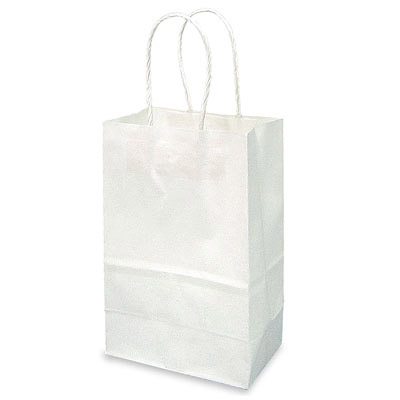 Paper shopping bag, 5x3x8, white