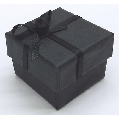 Jewelry gift box. Black with silver ribbon.4.5x4.5x3cm