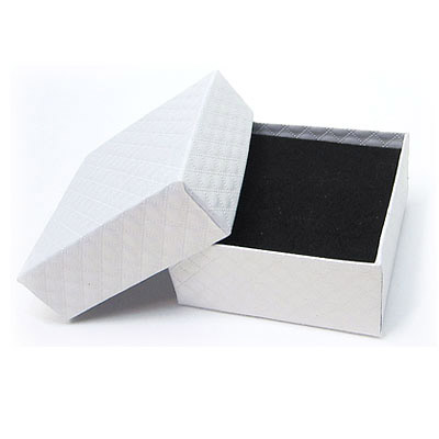 Jewelry gift box with pattern, 7.5x7.5cm, white