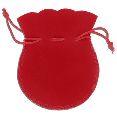 Jewelry pouch gift bag, 10x12cm, velour, red