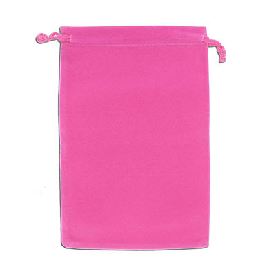 Jewelry pouch gift bag, 12x18cm, velour, fuchsia