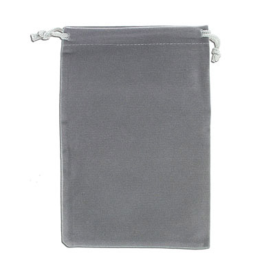 Jewelry pouch gift bag, 12x18cm, velour, grey