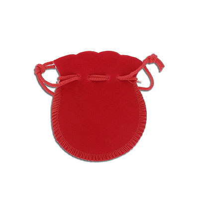 Jewelry pouch gift bag, 6x8cm, velour, red