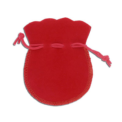 Jewelry pouch gift bag, 8x10cm, velour, red