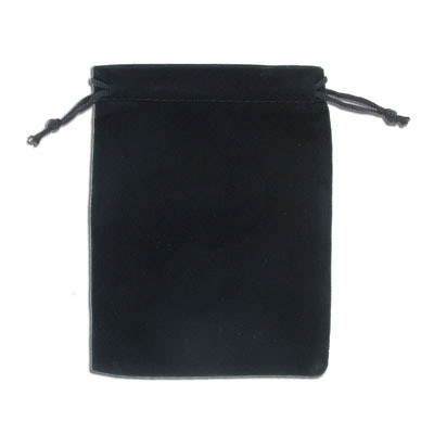 Jewelry pouch gift bag, 9x12cm, velour, black