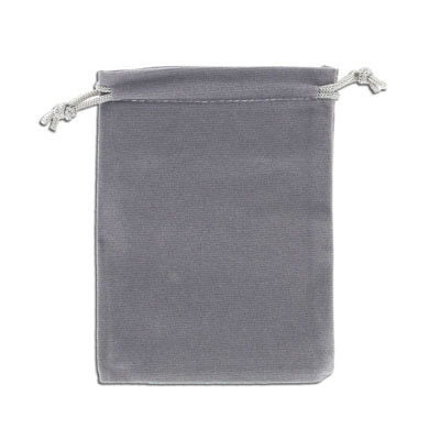 Jewelry pouch gift bag, 9x12cm, velour, grey