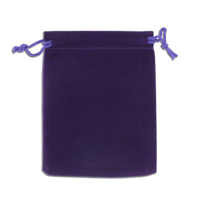 Jewelry pouch gift bag, 9x12cm, velour, purple