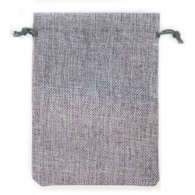 Jewelry pouch gift bag, 5x7 inches, hemp, grey