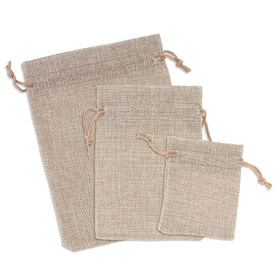 Jewelry pouch gift bag, 4x5.5 inch, hemp, natural