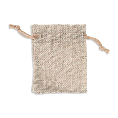 Jewelry pouch gift bag, 3.5x2.75 inch, hemp, natural